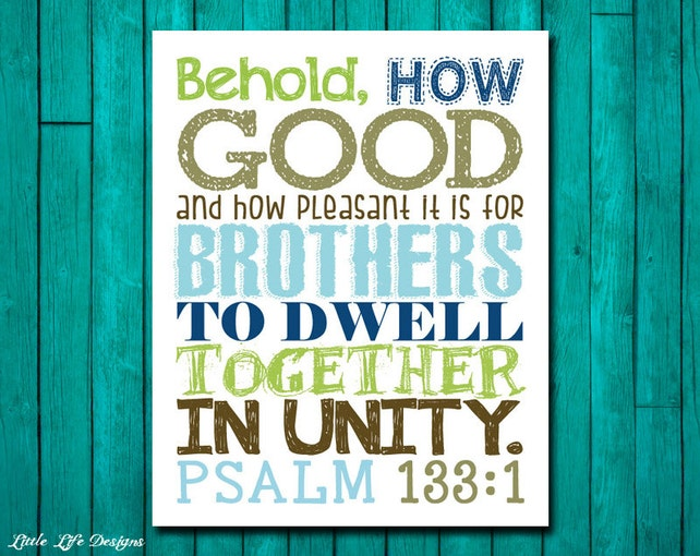 Brothers Wall Art. Boys Room Decor. Psalm 133:1. Scripture.   Etsy