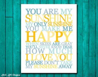 You Are My Sunshine Wall Art. Childrens Nursery Decor. You Are My Sunshine My Only Sunshine. Kids Room Decor. Nursery Wall Art. 5 Versions!