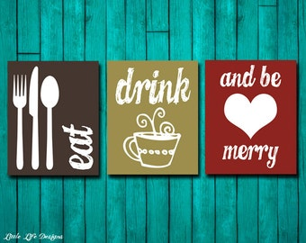 Eat Drink & Be Merry. Kitchen Decor. Dining Room Decor. Kitchen Wall Art. Dining Room Art. Kitchen Signs. Kitchen Wall Decor. Coffee Decor