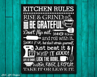 Kitchen Decor. Kitchen Utensil Art. Kitchen Wall Art. Funny Kitchen Chalkboard Sign. Whip it Good. Just Beat It. Roll With It. Kitchen Art.