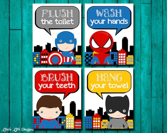 Bon Superhero Bathroom Wall Art. Superhero Bathroom Decor. | Etsy