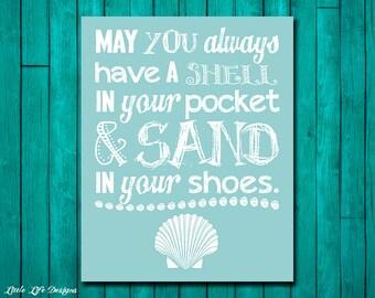 Beach Decor! Beach theme decor. Shell Decor. Office Wall Art. Beach House Wall Art. Coastal Decor. Beach Sign. Sand in your shoes. Shells