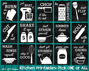 Kitchen Wall Decor. Kitchen Utensil Decor. Kitchen Wall Art Kitchen Chalkboard Sign. Whip it Good. Just Beat It. Roll With It. Kitchen Decor