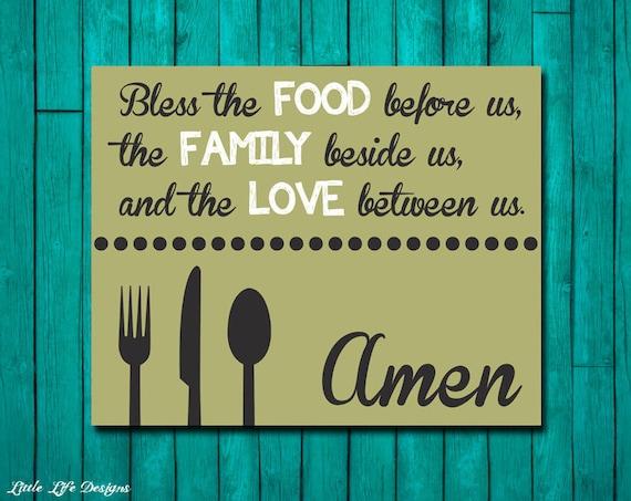 Dinner Blessing. Bless the Food. Family Blessings Wall Decor. | Etsy