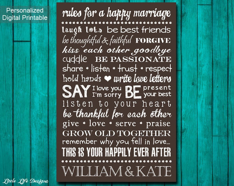 Rules For A Happy Marriage Sign Custom Wedding Gift Etsy