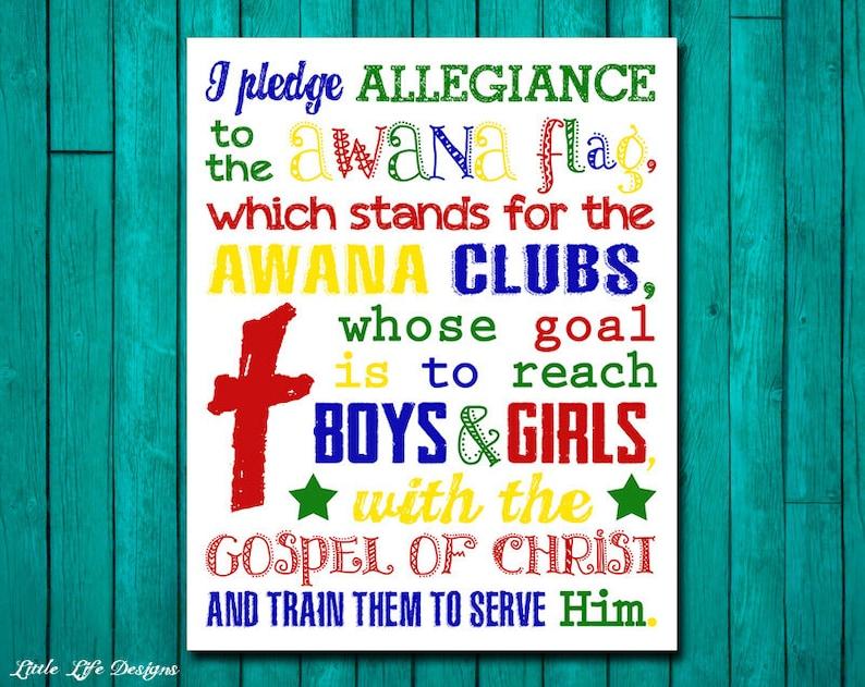 Pledge of Allegiance to the AWANA Flag  Youth Group Decor  Church Decor   Christian Decor  Sunday School Wall Art  AWANA Club Flag Pledge