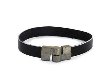 Mens leather bracelet, black handmade jewelry,  gift for husband dad brother uncle boyfriend, friendship bracelet for my best friend