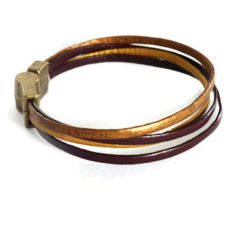 ready to ship item wedding anniversary gift Gift for him or her under 20 dollars Golden and brown leather bracelet handmade jewellery