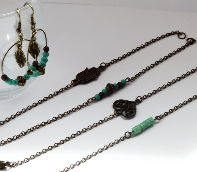 handmade unique gift idea for mother/'s day Bronze chain bracelets trendy jewellery for summer festivals