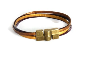 Golden and brown leather bracelet under 20 dollars handmade
