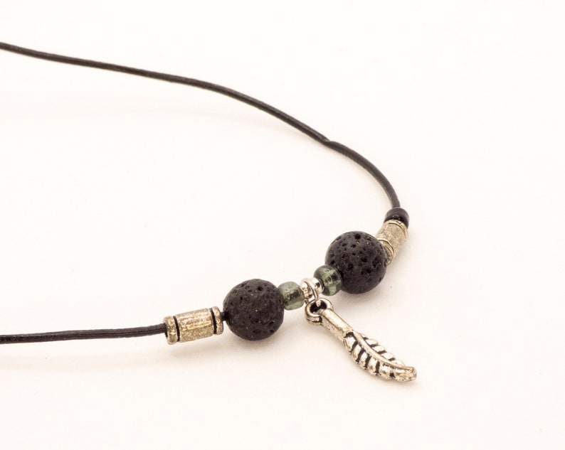 Black leather necklace for her or him minimal styled
