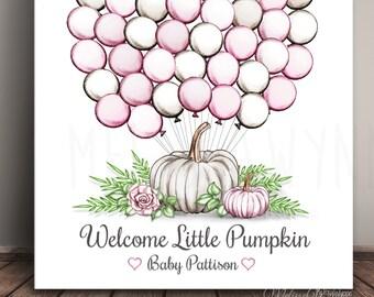 Little Pumpkin Baby Shower Guest Book Book Alternative - Guests sign a balloon! pkn-BL