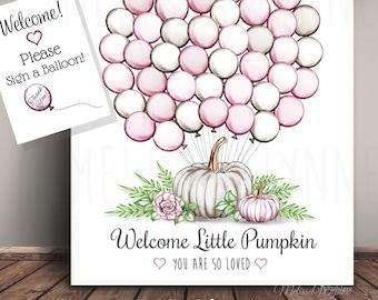 Instant Download (Digital File)-  Little Pumpkin Guest Book Art with 45 Balloons