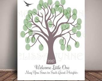 Nursery Art GuestBook Alternative, Baby Shower Guest Book = Thumbprint Tree