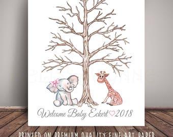 Jungle Baby Shower Guest Book Alternative Thumbprint Tree, Jungle Nursery Fingerprint Tree, Art Print JEG-LBT-TH