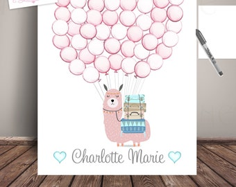 0d0e006a Pink Llama Baby Shower Guest Book Alternative, Baby Shower, Nursery ARt -  Balloon Sign In, ART PRINT LLA-Bl-Blp