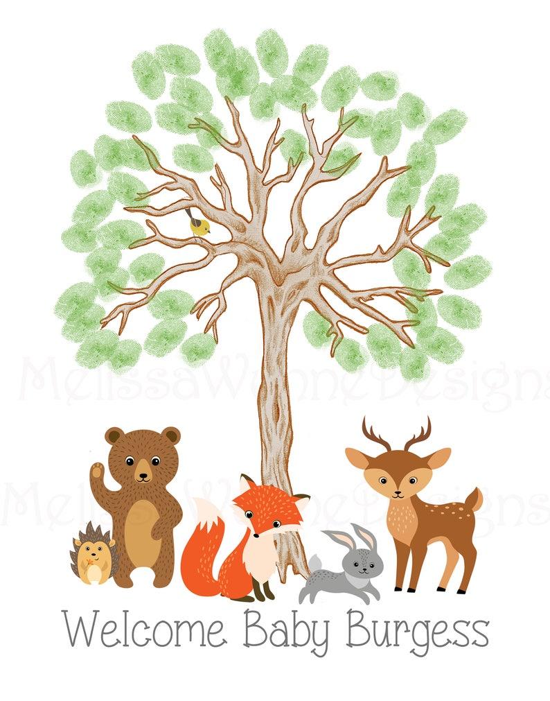 Fine Art Paper kp19 Thumbprint Tree Guest Record for Woodland Nursery Woodland Creatures Baby Shower Nursery Art Memorabilia