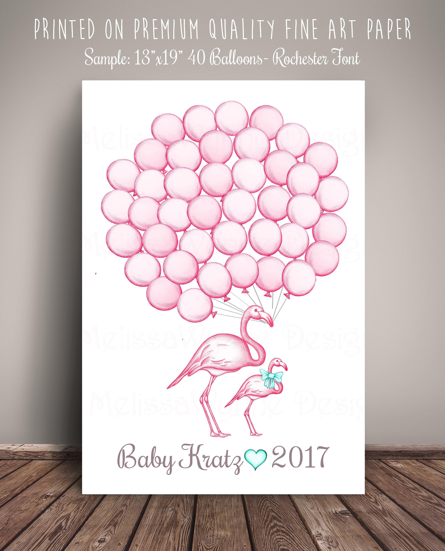 Flamingo Balloons Guest Book Alternative Art Print Flamingo