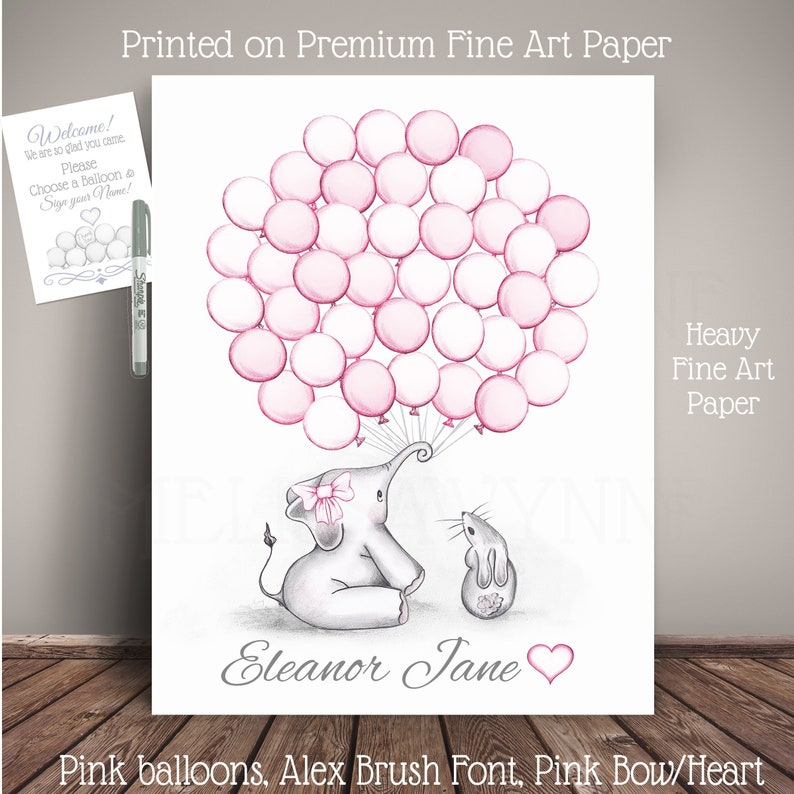 Elephant Guest Book Alternative for Baby Shower or Birthday- Balloon Sign  In - on Fine Art Paper - EBBT-BL