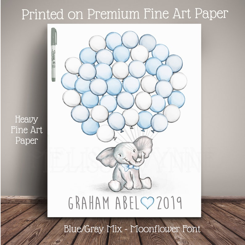 Watercolor Elephant Baby Shower Guest Book Alternative  image 0