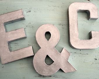Silver Letters, faux metal letters, wedding decor, mr and mrs, wedding, letters, faux zinc letters, 3d letters, wedding table sign