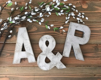 Distressed silver Letters, faux metal letters, wedding decor, mr and mrs, wedding, letters, faux zinc letters, 3d letters, rustic letters