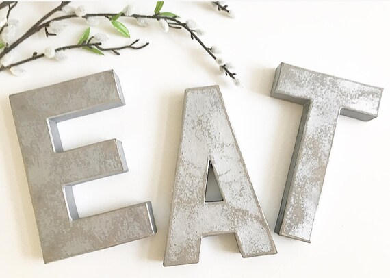 eat silver letter kitchen decor eat eat letters silver | etsy