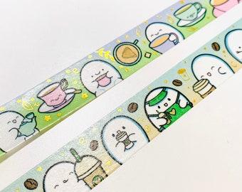 Coffee & Tea Lover Washi Tape   Exclusive Washi   Foil Washi Tape   Decorative Tape for Planning, Flump Washi Tape, Character Washi