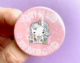 9f6e9176c6e0 HOLOGRAPHIC Crafting Unicorn Pin Badge