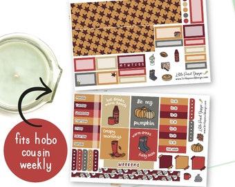 Hobonichi Cousin Cosy Fall Sticker Kit   Hobonichi Weekly Kit   Matt Stickers   Fall Themed Kit   Hand Drawn Stickers   Autumn Fall Stickers
