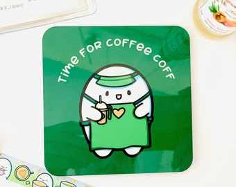 Cute Coaster   Time For Coffee Coff  Coffee Lover Coaster   Kawaii Decor   Gift For Her   Drinks Mat   Coffee Drinker Gift   No Coffee