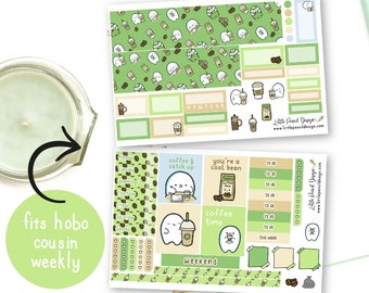 Hobonichi Cousin Flump Coffee Time Sticker Kit   Hobonichi Weekly Kit   Matt Stickers   But First Coffee Weekly Kit   Hand Drawn Stickers