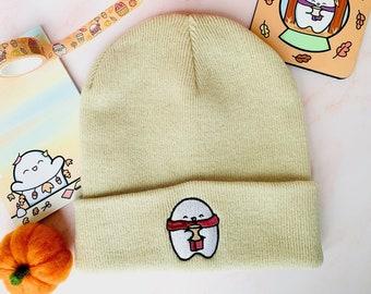 PREORDER Cosy Fall Kawaii Sand Beanie   Double Layer Knit Hat   Autumn Kawaii Beanie   Winter Hat   Cute Beanie   Kawaii Aesthetic