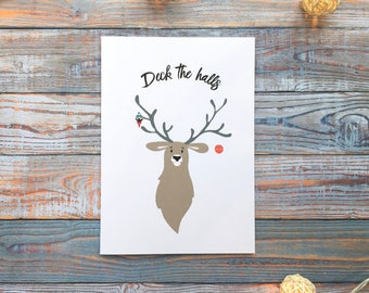 Christmas Card Deck the Halls Stag // Holiday Greetings Card // Merry Everything // Funny // Handmade // Card for Him // Card for Her