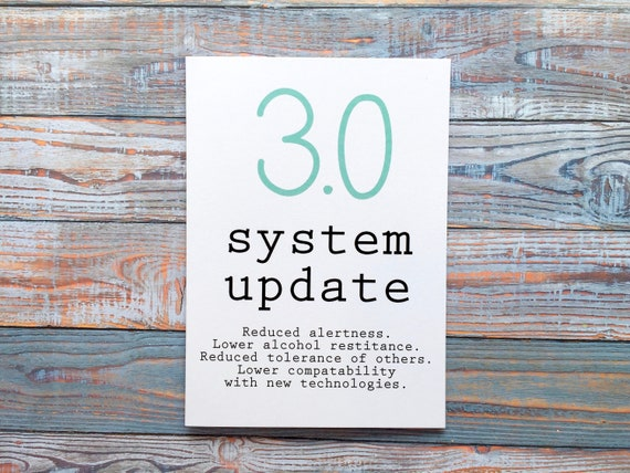 30 System Update 30th Birthday Card Funny