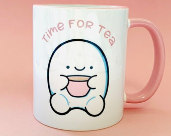 Kawaii Time For Tea Mug   Cute Gift   Tiered Tray Decor   Tea Lover Mug   Tea Addict   Gift For Tea Lover   Gift For Friend   Time For Tea