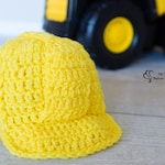 Baby Construction Hat - Newborn Construction Hard Hat -Construction Worker Costume - Lineman Hat - Newborn Photo Prop - Crochet Hard Hat