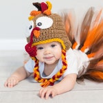 Baby Turkey Hat - Turkey Hat with Ear flaps - Child Turkey Hat - Toddler Turkey Hat - Thanksgiving Photo Prop - Crochet Turkey - Holiday Hat