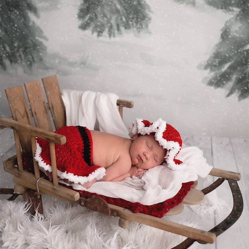 Baby Girl Christmas Outfit  Mrs Claus Mop Cap and Skirt  image 0
