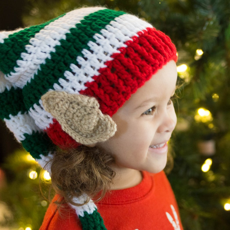 Elf Hat with Ears Baby's First Christmas  Christmas Elf Green & White-shown