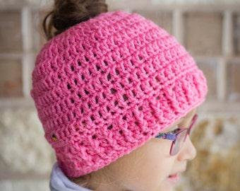 Child Messy Bun Hat CROCHET PATTERN - Pattern for Crochet Ponytail Hat - Child Ponytail Pattern - Child Pigtail Hat - Digital Download