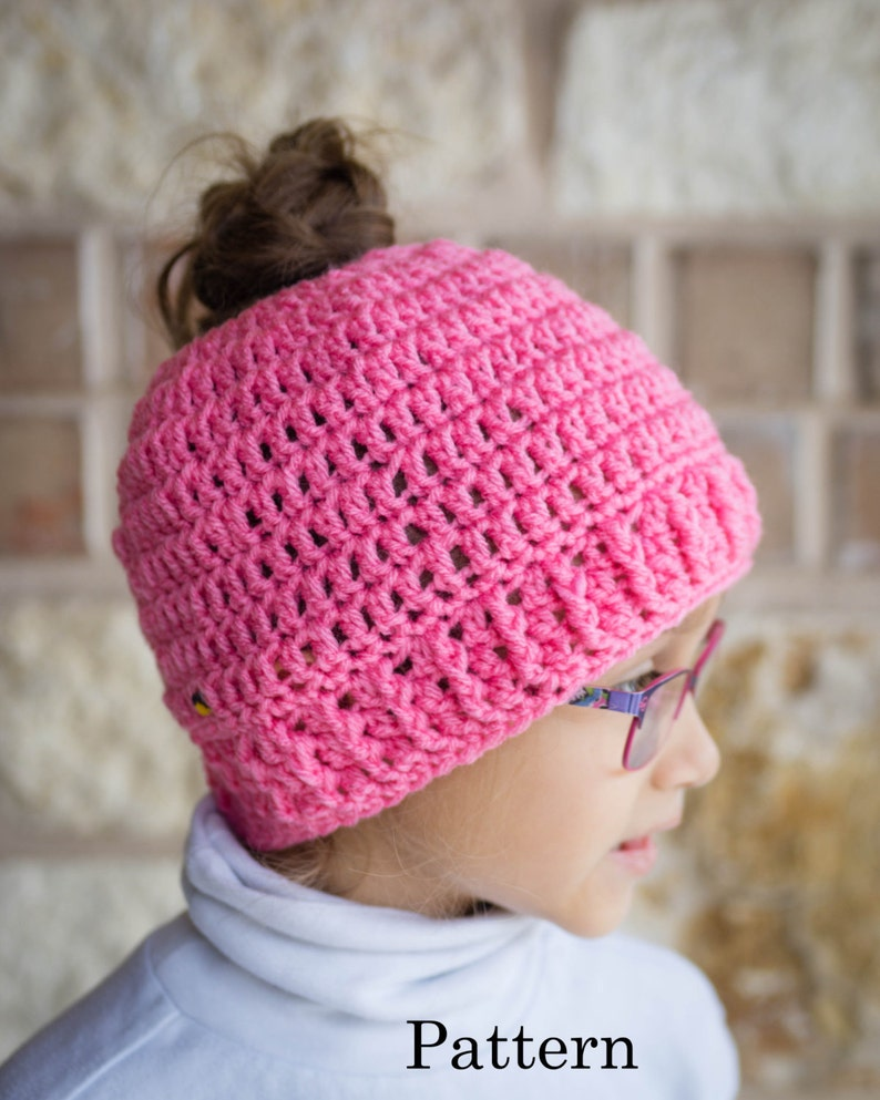 Child Messy Bun Hat CROCHET PATTERN  Pattern for Crochet image 0