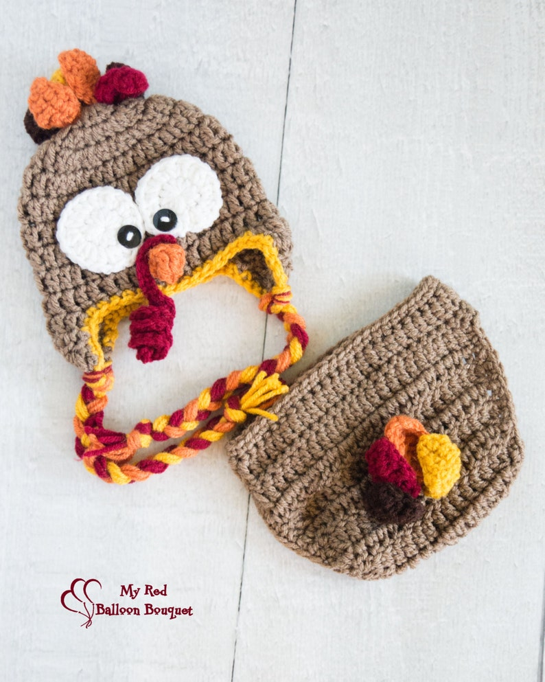 Baby Turkey Outfit  Newborn Turkey Hat  Infant Turkey Hat  image 0