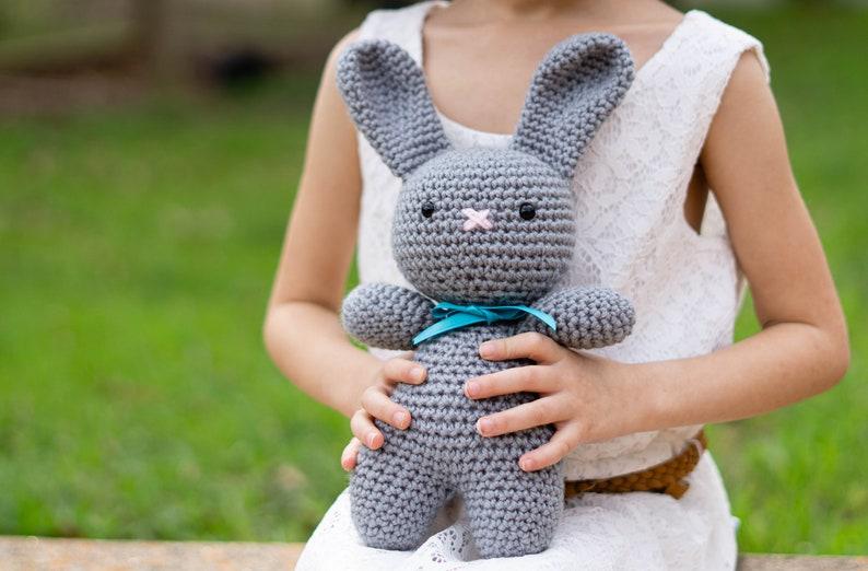 Amigurumi Bunny  Crochet Bunny  Stuffed Bunny for Baby  Gray