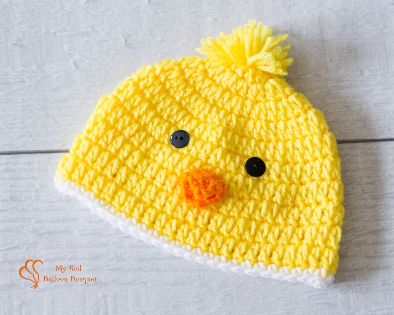 Baby Chick Easter Hat  Toddler Easter Hat  Baby's First white trim