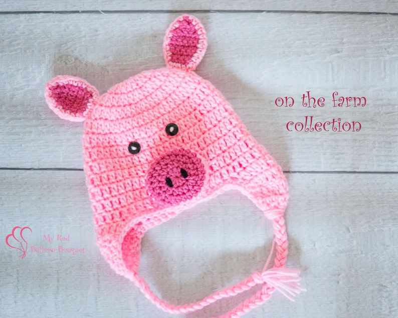 Pig Hat  Baby Pig Hat  Child Pig Hat  Newborn Pig Hat  image 0
