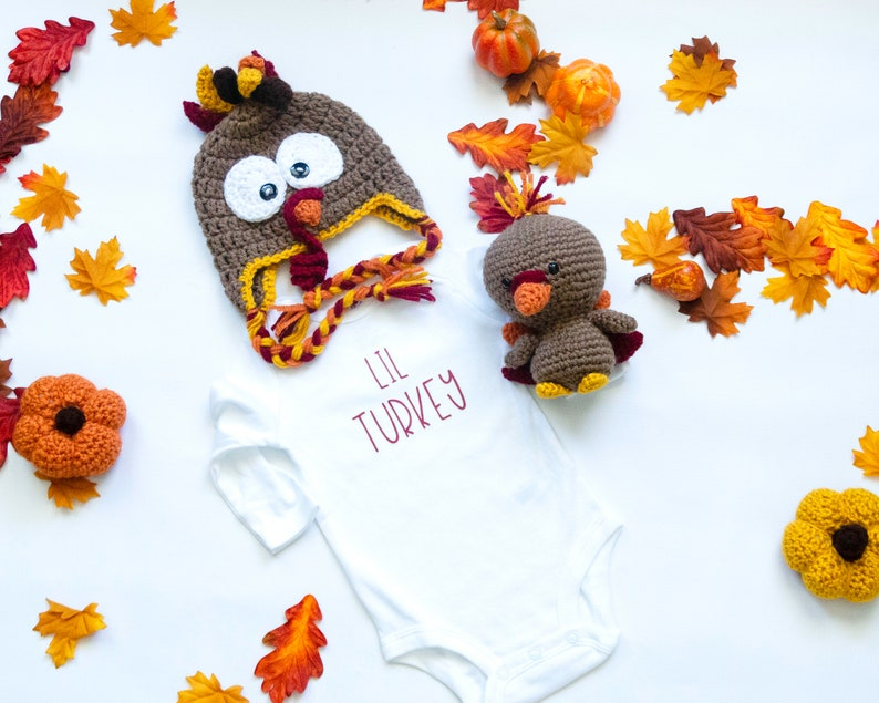 Thanksgiving Outfit  My First Thanksgiving  Little Turkey Hat, Bodysuit, Plush