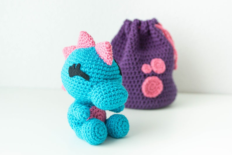 Girl Dinosaur Plush  Dinosaur Gift for Niece  Stuffed Girl -Drawstring Bag