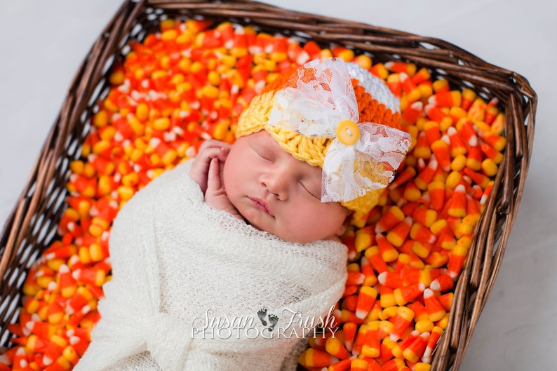 Girl Candy Corn Hat  First Halloween   Baby Candy Corn Hat  image 0