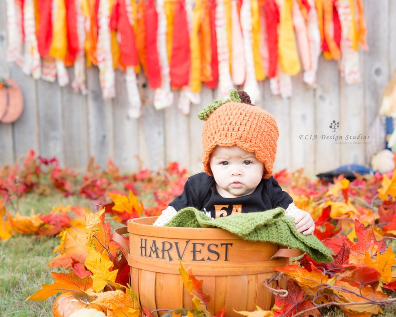 Girl Pumpkin Hat  Newborn Girl Hat  Pumpkin Cloche  Pumpkin image 0